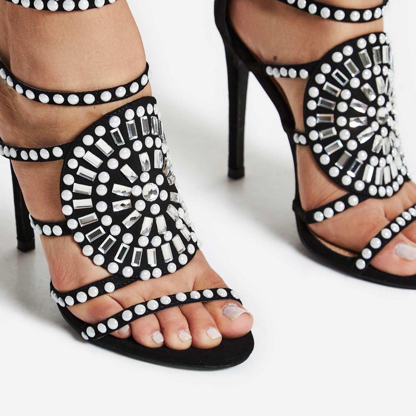 Черни сандали с перли и кристали KLEOPATRA II